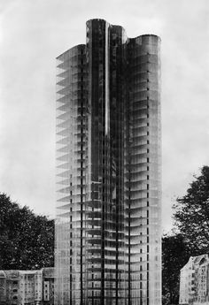 A photograph of the experimental model of 1922 made for Mies van der Rohe's Glass Skyscraper Project.
