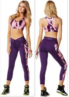 ZUMBA 2Pc Set! CAPRI LEGGINGS & BRA TOP Posh in Pink Yoga Dance CrossFit,etc…