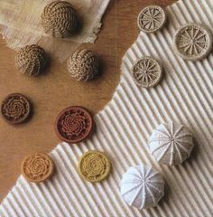 Dorset Knob, Blandford Cartwheel, Swanston and Sea Urchin (based on centre of a Crosswheel) designs of Dorset Buttons.