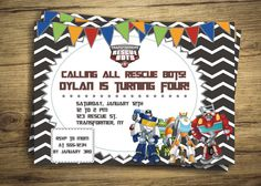 Tranformers Rescue Bots Birthday Party Invitation - Optimus PrimeTheme Invite - Personalized Party, Digital File, Printable