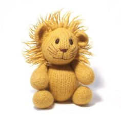 This friendly cuddly lion has moving jointed limbs and a fuzzy mane around his sweet smiling face. This toy is so quick to knit using large size needles, then magically transformed into thick soft felt by a ride in your washing machine! Knitting Stitches, Free Knitting, Knitting Patterns, Crochet Patterns, Knitting Ideas, Knitting Toys, Knitting Needles, Crochet Ideas, Knitted Animals