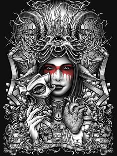 """Winya No. 55"" Unisex T-Shirt by Winya   Redbubble Dark Fantasy Art, Fantasy Artwork, Chicano Art Tattoos, Totenkopf Tattoos, Beautiful Dark Art, Evil Art, Marquesan Tattoos, Tattoo Flash Art, Desenho Tattoo"
