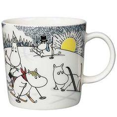 Skiing with Mr. Brisk Moomin Mug 2014 from Arabia by Tove Jansson, Tove Slotte Moomin Shop, Moomin Mugs, Moomin Valley, Tove Jansson, Christmas 2014, Cute Characters, Mugs Set, Finland, Childrens Books