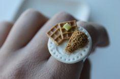Chicken and Waffles Ring Polymer Clay Food Jewelry by FoodnCute