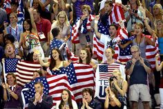 American fans cheering in the Aquatic Centre at the summer Olympics. Missy Franklin's win in the 100-meter backstroke finals brings out USA stars and stripes. Check out the photo gallery for National Pride at the Olympics.(Fox Sports) All of the countries are cheering on their team and I wish I could pin it all. :-)