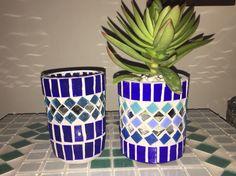 Conjunto de luminária e vaso em mosaico!