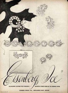 EISENBERG ICE Costume Jewelry Ad - 1947 - Pins, Earrings, Bracelet - PAPER AD #EisenbergIce