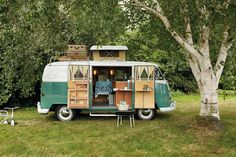 "A lot like we used to roll across the country when I was a kid in dad's green VW van we names ""El Pigeeto"". Rv Camping, Glamping, Camping Site, Camping Cabins, Camping Trailers, Luxury Camping, Campsite, Camping With Kids, Vw Camper"