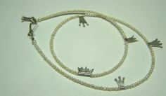 Pearl Necklace with small Silver Crowns -Handmade Jewelry by Nicole Bolze ORIGINALS