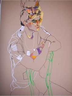 Howard Tangye one of my illustration heroes - a gorgeous mash up of line and colour - very Schiele - love it. Art Inspo, Kunst Inspo, Inspiration Art, Sketchbook Inspiration, Figure Painting, Figure Drawing, Painting & Drawing, Art And Illustration, Drawing Sketches