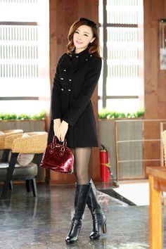 Fashion Turtleneck Long Sleeve double breasted Black Wool Coat