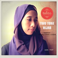 Two Tone : Dark Brown & Dark Purple - square #hijab