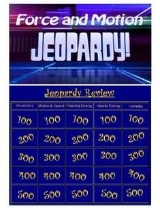 Editable Smart Notebook Jeopardy game over Force & Motion. Created as part of a 6th grade unit.