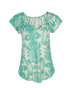 Notch Neck Tee, Aquamarine Print #rickis #weekendchic #weekendstyle #spring2016