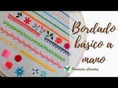 Bordado básico a mano para principiantes – Patrones gratis Basic hand embroidery for beginners – Free patterns Hand Embroidery Videos, Cute Embroidery, Christmas Embroidery, Embroidery For Beginners, Hand Embroidery Designs, Embroidery Techniques, Cross Stitch Embroidery, Single Crochet Stitch, Good Tutorials