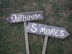 Rustic Wedding Signs | Rustic Wood Wedding Signs on Stakes Ceremony Reception Outhouse ...