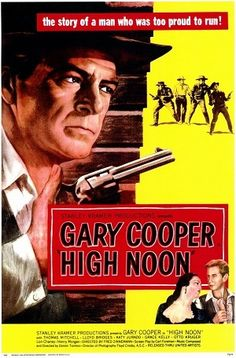 High Noon is a 1952 American Western film directed by Fred Zinnemann and starring Gary Cooper and Grace Kelly. The film tells in nearly real time the story of a town marshal forced to face a gang of killers by himself. The screenplay was written by Carl Foreman.