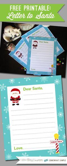 Letter to Santa free printable, makes a darling keepsake!