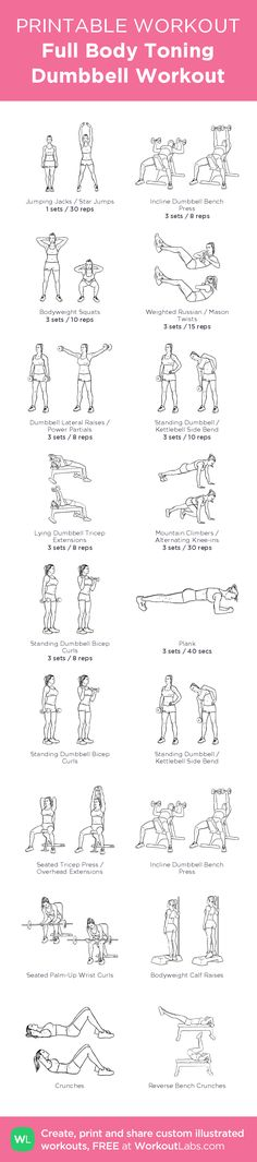Full Body Toning Dumbbell Workout –illustrated exercise plan created at WorkoutLabs.com • Click for a printable PDF and to build your own #customworkout