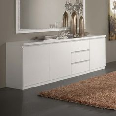 Furniture In Fashion Regal Sideboard In White With Gloss Lacquer And Crystal Details Dining Room Sideboard, Large Sideboard, Modern Sideboard, Living Room Decor Cozy, Living Room Modern, Living Rooms, Shoe Storage Cabinet With Doors, Buffets, Crystal Decor
