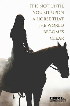 It is not until you sit upon a horse that the world becomes clear
