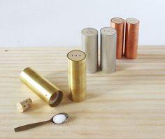 Aluminum, Brass and Copper Salt & Pepper Shakers by Ladies & Gentlemen