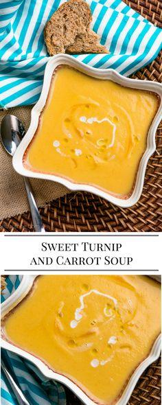 Sweet Turnip and Carrot Soup vegetarian vegan turnip soup fall coconut carrots Turnip Recipes, Veggie Recipes, Vegetarian Recipes, Cooking Recipes, Rutabaga Recipes, Vegetarian Soup, Cooking 101, Shrimp Recipes, Healthy Recipes