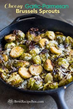Best roasted brussels sprouts recipe with garlic and cheese. This Easy roast brussels sprouts recipe is roasted in the oven with cheese and garlic Sprout Recipes, Vegetable Recipes, Cooking Recipes, Healthy Recipes, Keto Recipes, Dinner Recipes, Bacon Recipes, Side Recipes, Ketogenic Recipes