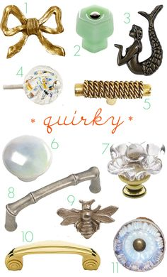 Quirky drawer knobs and pulls. For the links to where to buy them, click through the the Little Green Notebook blog post