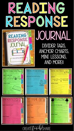 Reading Response Journals are the perfect place for students to respond to novels that are read aloud in the classroom. This Reading Response Journal covers 10 different reading skills and strategies. There is a Divider Tab for each skill or strategy, eac Reading Workshop, Reading Skills, Reading Logs, Close Reading, Reading Homework, Reading Response Activities, Literacy Strategies, Guided Reading Lessons, Reading Comprehension Strategies