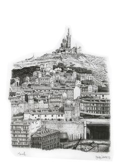Landscape, Marseille, France. Drawing by Jacques Lahitte