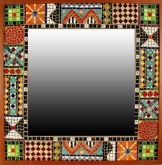 """Mirror Mirror""  Mosaic Mirror  Created by Carl Bryant, Sandra Bryant  Light sparkles in jewel colors from cut glass in this intricately designed, framed mosaic mirror. Each is unique and will vary slightly. Mirror glass is 15.75''H x 15.75''W.   Dimensions: 24.0in H x 24.0in W x 0.75in D"