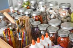 When storing art supplies, keep them in clear containers.