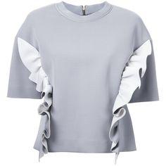 Marni ruffle sweatshirt (9.602.780 IDR) ❤ liked on Polyvore featuring tops, hoodies, sweatshirts, grey, frill top, short sleeve ruffle top, grey sweatshirt, ruffle top and short sleeve tops