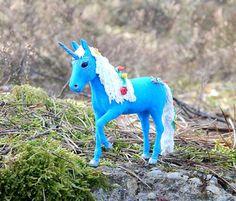 Blue unicorn figurine skulpture unicorn handmade от ViaLatteaArt