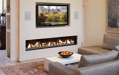 Contemporary electric fireplace designs with TV above for small living room…