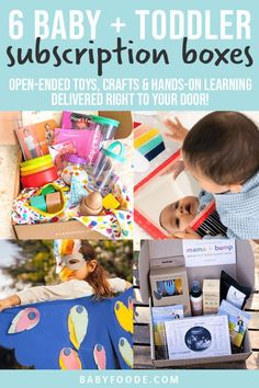 These 6 Baby & Toddler Subscription Boxes are a fun and easy way to get toys, books and surprises sent right to your door! Each of the boxes below are curated to meet the needs of your baby's developmental stage. These subscription boxes also make great Christmas, baby shower or birthday gifts! Gift Subscription Boxes, Toddler Age, Toddler Snacks, 3rd Baby, Mom And Baby, Healthy Store Bought Snacks, Discovery Box, On The Go Snacks