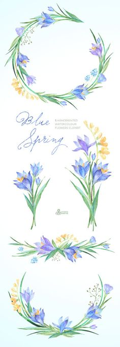 Blue Spring Watercolour Flowers Clipart. by OctopusArtis on Etsy