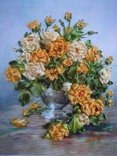 Gallery.ru / Розы в вазе - Вышивка лентами - silkfantasy