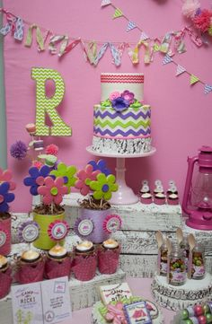 glam camping glamping birthday party: The dessert table