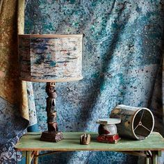 """The """"Quarry"""" lamp in cast bronze, a collaborative piece from @martynthompsonstudio and ceramic artist @dovedrury   The lamp combined Dove's haphazard aesthetic with the refined, bohemian spirit of Martyn Thompson Studio. #bronze #tablelamp #interiordesign #martynthompsonstudio #dovedrury   photo @martyn_thompson"""