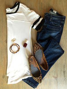 varsity tee, leopard flats; Fall outfit idea