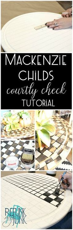 HACK: MacKenzie Childs Courtly Check Tutorial - Refunk My Junk - interior design Whimsical Painted Furniture, Painted Chairs, Hand Painted Furniture, Funky Furniture, Paint Furniture, Furniture Projects, Furniture Makeover, Repainting Furniture, Diy Projects