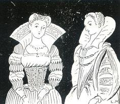 """BASQUIÑA (imagen izquierda). La parte superior del cuerpo femenino era oprimida por la """"Basquiña"""" que era una prenda interior tipo corsé de material rígido proyectando el pecho hacia arriba y aplanándolo; este efecto se veía potenciado al usar el """"peto"""" rígido y triangular. Se empieza a utilizar a partir de 1520. Es cuando se introduce el Hierro en las confección del corsé, pasando a ser la nota dominante de la mujer, la rigidez. Así sabemos de Claudia, la hija de Catalina de Médicis…"""