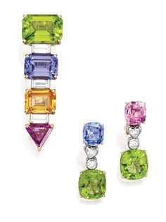 18 KARAT GOLD, PLATINUM, COLORED STONE AND DIAMOND BROOCH, BULGARI, AND A PAIR OF EARRINGS