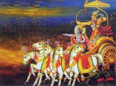 Krishna and Arjuna on Chariot During Kurukshetra War (Reprint on Paper - Unframed))