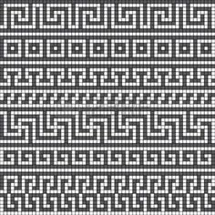 meander: Vector seamless pattern with classic greek meander ornament – Mosaic Cross Stitch Pattern Maker, Cross Stitch Borders, Cross Stitching, Cross Stitch Patterns, Knitting Charts, Knitting Stitches, Knitting Patterns, Crochet Patterns, Sock Knitting