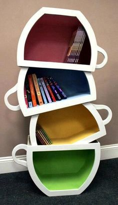 Wood bookshelves by Scott Blackwell. Very cool bookshelves for kids rooms.Seuss bookshelf, stacked Teacups bookcase, dragon themed bookshelf and many other awesome childrens bookshelves! Coffee Cups, Tea Cups, Coffee Barista, Coffee Plant, Coffee Menu, Drink Coffee, Coffee Creamer, Starbucks Coffee, Iced Coffee