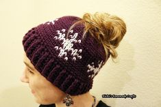 """Since the Waistcoat stitch started trending I started to think about other patterns to create besides the """"Love is in the Air Beanie"""". So I created this FREE pattern which is called the Snowflakes Messy"""
