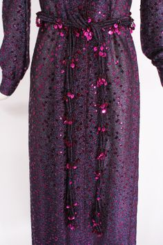 CHRISTIAN DIOR Purple Metallic 1970s Dress #2774401807 | From a collection of rare vintage evening dresses at http://www.1stdibs.com/fashion/clothing/evening-dresses/
